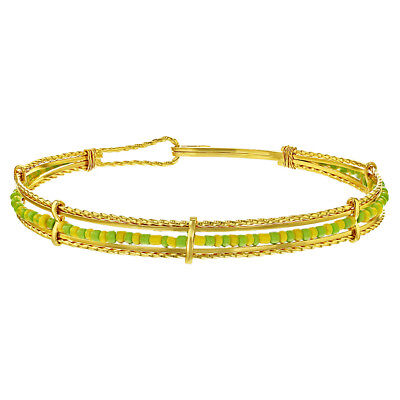 14k Gold Plated Orula Babalawo Santeria Green Yellow Beads Bangle Bracelet 14k Gold Bead Bracelets