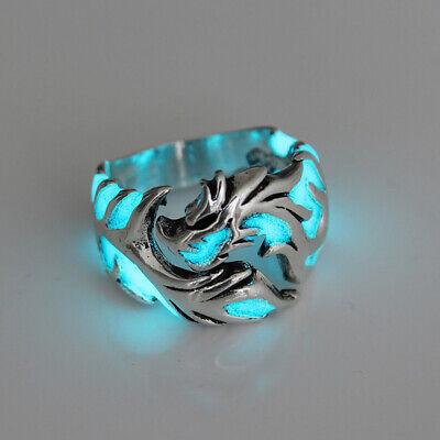 Unique Cool Mens Boys Luminous Dragon Ring Vintage Jewelry Club Pub Band Rings - Dragon Ring Jewelry