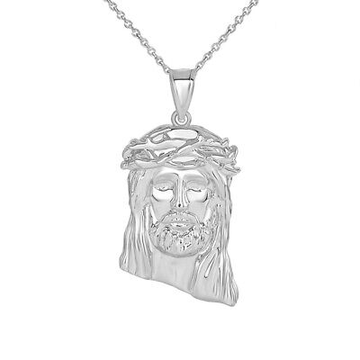 Sterling Silver Crown of Thorns Jesus Christ Head Small & Large Pendant Necklace](Crown Of Thorns Necklace)