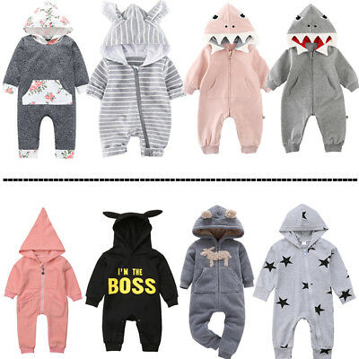 Baby Boy Girl Unisex Clothes Cute Hooded Romper Jumpsuit Playsuit Outfit Set US (Toddler Girl Spring Clothes)