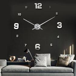 Modern DIY Large Numbers 3D Wall Clock Mirror Sticker House Decoration Silver #G