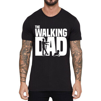 The Walking Dad Men's Funny T-shirts Cotton Short Sleeve Tee Black Shirts Tops Dad Short Sleeve Tee