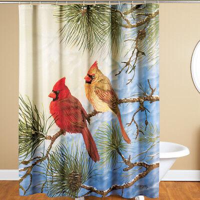 Winter Solitude Kardinal Polyester Stoff Duschvorhang