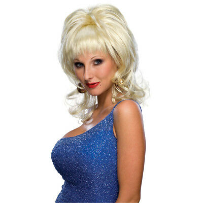 Country Western Singer Wig Dolly Parton Diva Pardon Blonde Big Adult Costume - Dolly Parton Halloween Wigs