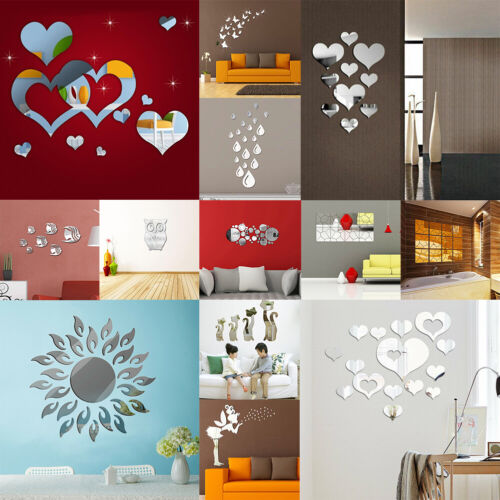 Home Decoration - Mirror Tiles Wall Stickers Self Adhesive Stick On DIY Art Home Room Decal Decor