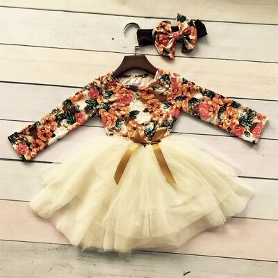 Girls Long Gown (Long Princess Girls Dress Flower Solid Baby Lace Party Gown Formal)