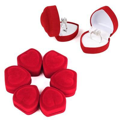 (12 RED VELVET HEART SHAPED RING DISPLAY BOXES gift box rings jewelry holder LOT)