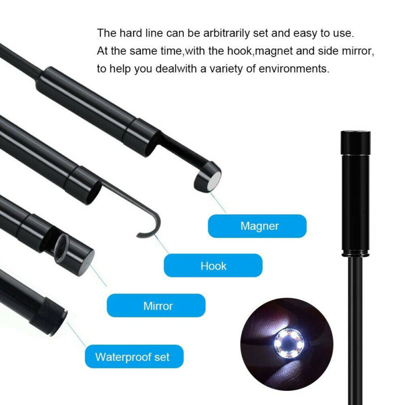 LED Endoscope Micro-USB Type-C HD Camera Inspection Borescope for Android PC