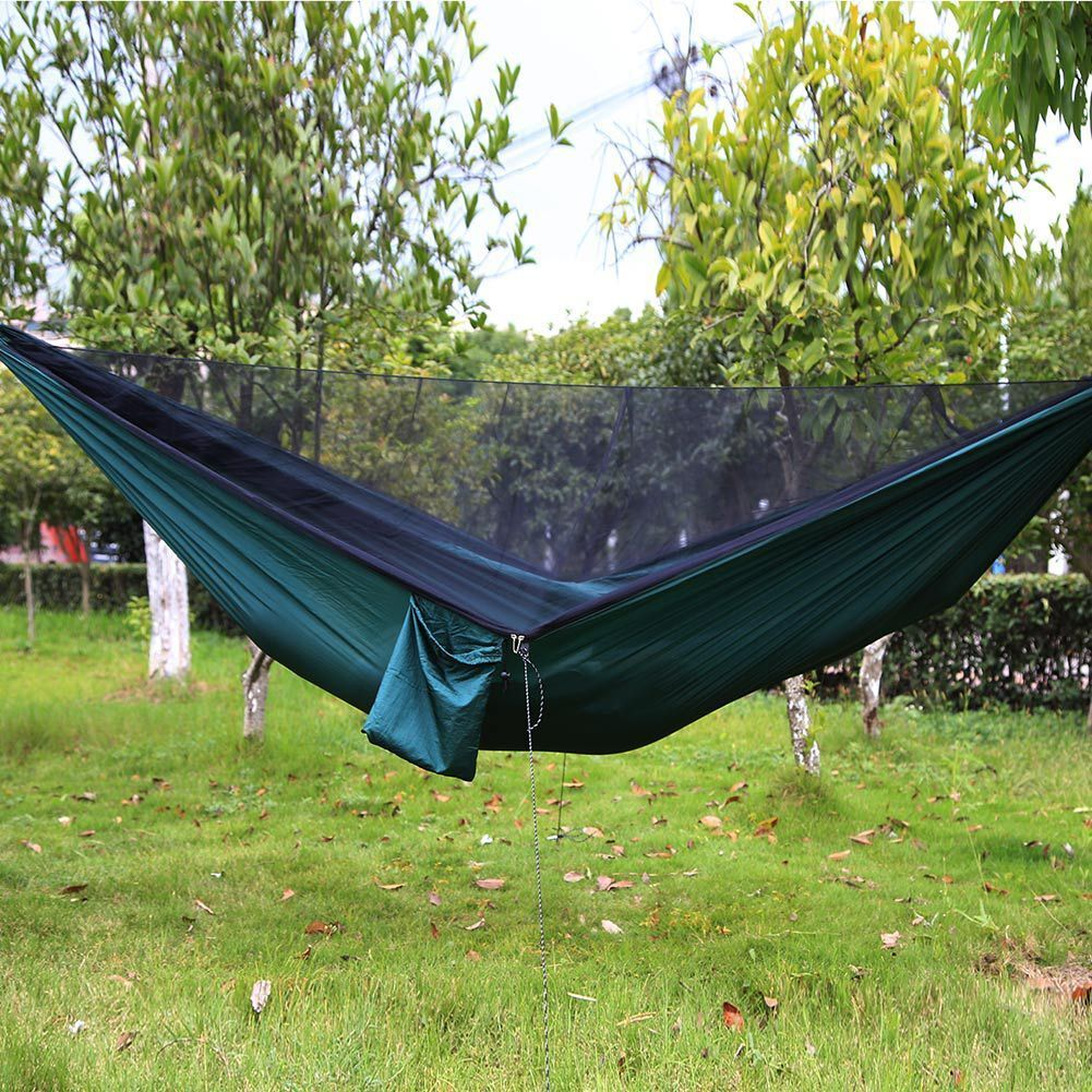 Reversible Easy Set Up Double Hammock Mosquito Net Camping Travel Hanging Bed