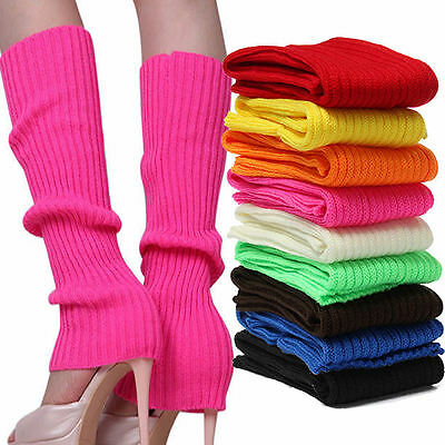US Women Party Legwarmers Knitted Neon Dance 80s Costume 1980s Lady Leg Warmers - Leg Warmers 80s