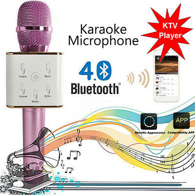 Pink Q7 Wireless Bluetooth Handheld KTV Karaoke Microphone Mic Speaker For Phone