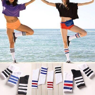Unisex Girls Backless White Striped Red Edge Football In Tube Socks Cotton Sock