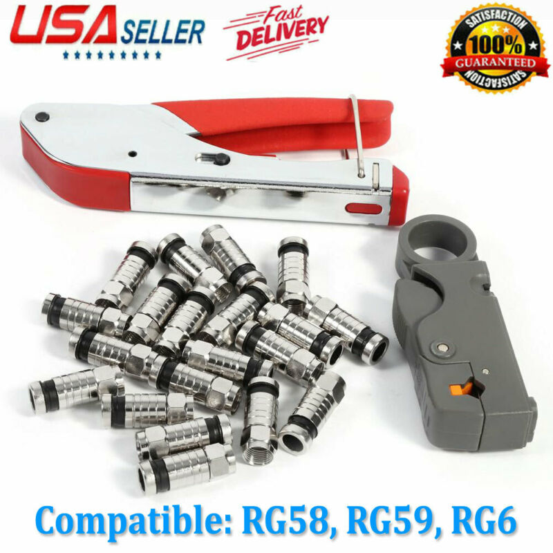 Coax Cable Connector Crimper Crimp Tool - F Type BNC RCA RG6 RG59