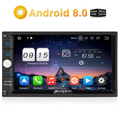 "Pumpkin 7"" Android 8.0 2Din Car Stereo 8Core RAM:4GB Radio GPS DAB+Wifi 4K Video"