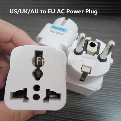 Universal US UK AU To EU Power Converter Charger Adapter Home Wall Plug Travel