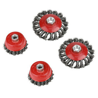 4 Pcs Twist Knot Flat Cup Wire Wheel Brush Set For Angle Grinder Rust Removal Us