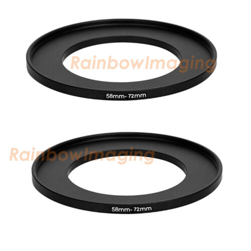 (2 Pack) 58-72mm 58 mm to 72 mm Metal Step Up Lens Filter Ring Adapter US Seller