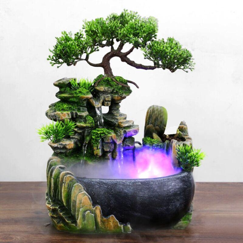 Atomizing Waterfall Rockery Desktop Fountain Humidifier LED Color Changing Decor