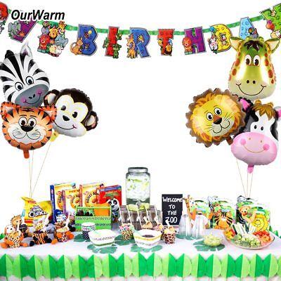 Safari Party Banner Animals Balloons Kids Jungle Theme  Birthday Party Decor - Jungle Theme