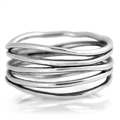 Oxidized Bar Knot Wide Wedding Ring New 925 Sterling Silver Open Band Sizes 4-10](Open Bar Wedding)