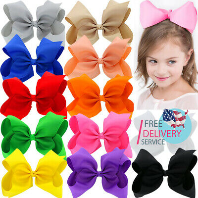 8 inches Large Ribbon Hair Bows With Alligator Clips For Big Girls Kids 12 pack - Large Ribbon Bows
