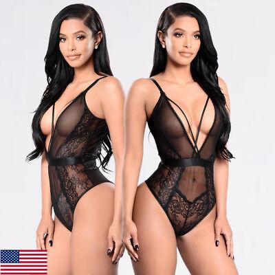 NEW Women's Sexy Lingerie Babydoll Sleepwear Underwear Lace BLACK Dress Set