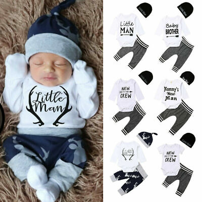 US 3Pcs Newborn Infant Baby Boy Girl Romper Top Pants Tracksuit Outfit Clothes