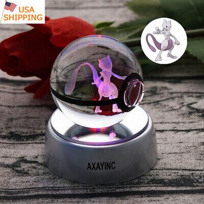 3D LED Kristall Pokemon Mewtwo Pokeball Tischlampe Nachtlicht KID Geschenk RGB