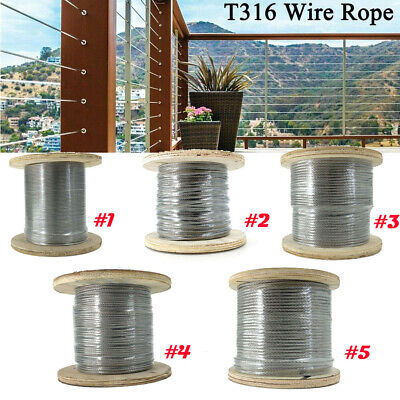 18 316 Stainless Steel Cable T316 Steel Wire Rope Cable 500ft Cable Railing