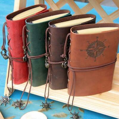 Retro Vintage PU Leather Bound Blank Page Notebook Note Notepad Journal Diary -