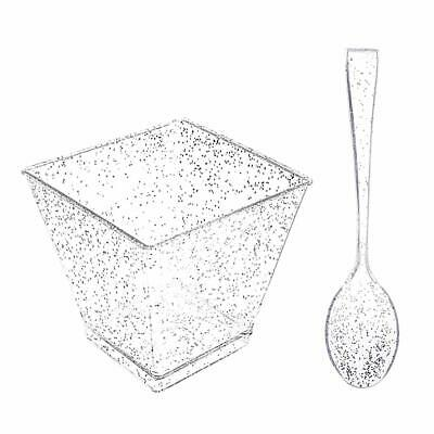 Silver Plastic Cups (200 Pieces PLastic Dessert Cups with Mini Spoons Silver Glitter, 100 Pieces 2)