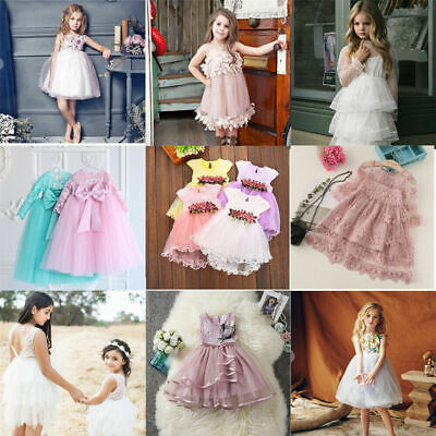 Party Dresses Kid (US Toddler Kid Baby Flower Girl  Party Dress Wedding Bridesmaid Dresses)