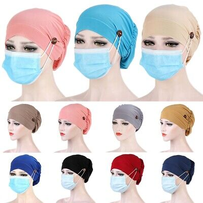 women button muslim hijab stretchy hat turban