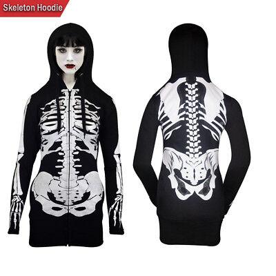 Halloween Skeleton Sweatshirt (Women Open Face Skeleton Hoodie Sweatshirt Halloween Costume Long)