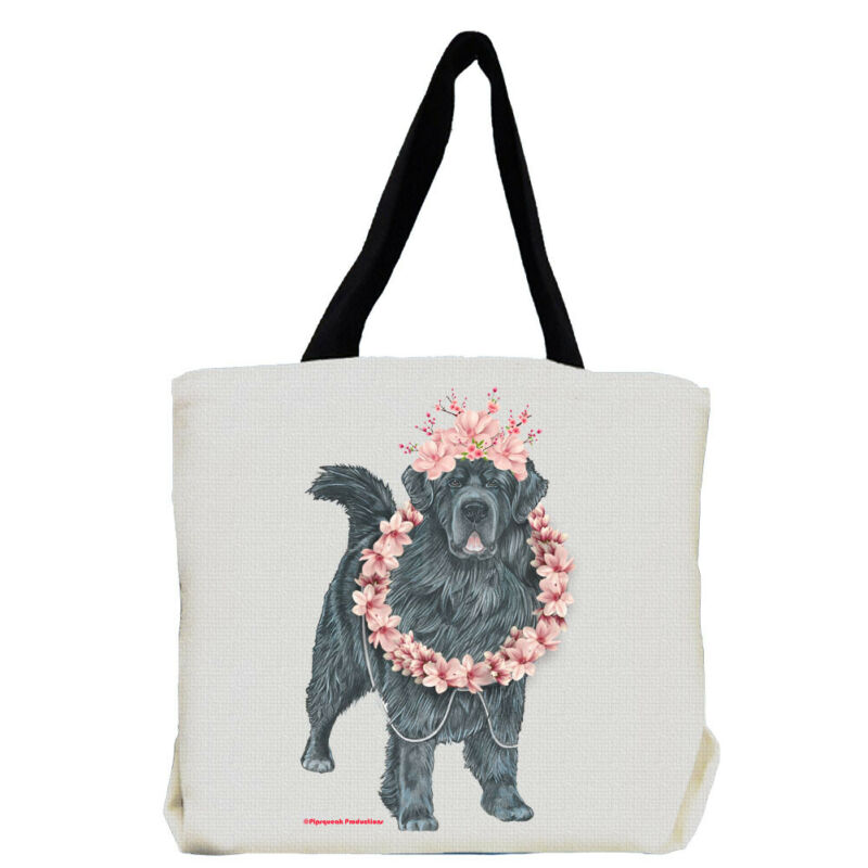 Newfoundland Newfie Dog with Flowers Tote Bag