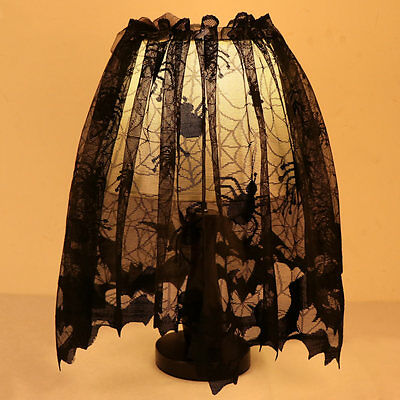 Halloween Lace Bat Spiderweb Lamp Shade Topper Curtains Swag Haunted House Decor - Halloween Decor