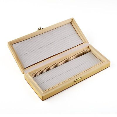 Us Microscope Slides Wooden Box Case Cabinet Holder For 50pcs Slides Storage Kit
