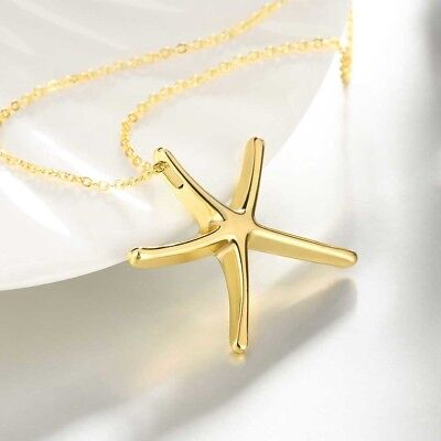 New Fine 14k Gold Plated Clean Cut Starfish Ocean Beach Pendant Chain Necklace 14k Gold Starfish Necklace