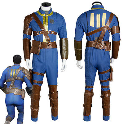Fallout Vault Suit (Fallout Cosplay 4 FO Nate Vault #111 Jumpsuit Costume Uniform Outfit Battle)