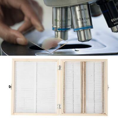 100x Biology Glass Prepared Microscope Slides Specimens Wooden Slide Storage Box