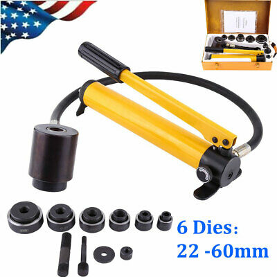 10ton Hydraulic Metal Hole Punch Knockout Set W6 Dies Tool Hand Pump 22 -60mm
