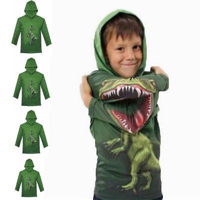 Kinder Jungen Dinosaurier-Druck Kapuzen Pullover Sweatshirt Hoodie Pulli T-Shirt