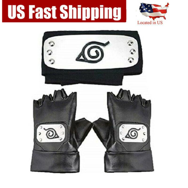 Hatake Kakashi Ninja Naruto Headband Leaf Village Headband Gloves Cosplay props