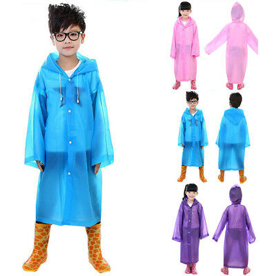 Kids Boy Girl Hooded Jacket Rainsuit Rain Poncho Raincoat Cover Long Rainwear US