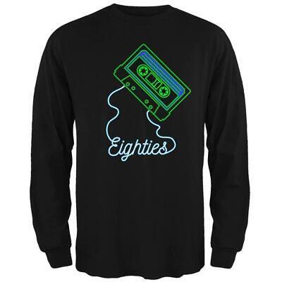 Retro 80s Neon Sign Cassette Tape Eighties Mens Long Sleeve T Shirt
