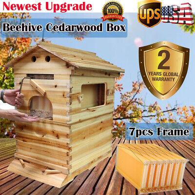7pcs Upgrade Flowing Honey Hive Frames Beehive Brood Wooden Box Beekeeping Us