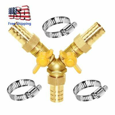 3 Way Shut Off Ball Valve 34 Hose Barb Y Shaped 2 Switch Brass Fitting