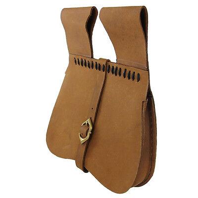 Medieval Renaissance Simple Natural Leather Soldier Pouch