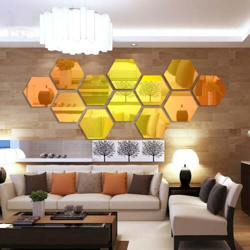 120Pcs 3D Mirror Hexagon Vinyl Removable Wall Sticker Decal Home ...