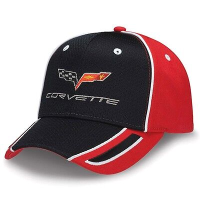 C6 Corvette Black Pique Mesh and Red Cotton Polyester Embroidered Hat Polyester Pique Mesh